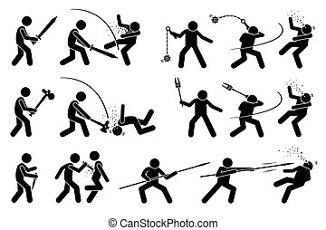 homem, usando, medieval, guerra, armas, para, attack.