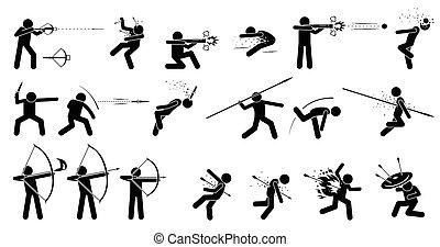 homem, usando, medieval, guerra, mão prendida, ranged, weapons.