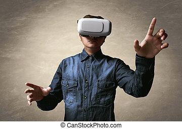 homem, usando, realidade virtual, headset