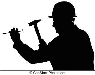 homem, usos, um, martelo, bater, um, prego