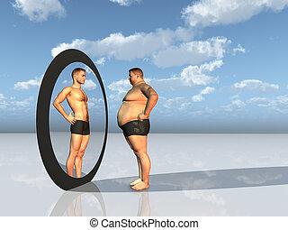 homem, vê, outro, próprio, em, espelho