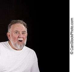 homem velho, confundido