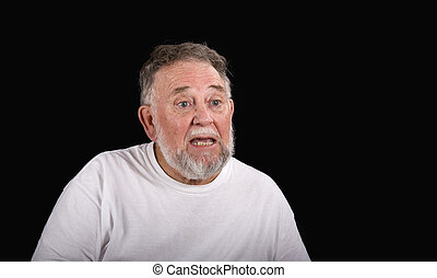 homem velho, deixado perplexo