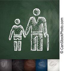 homem velho, e, menino, icon., mão, desenhado, vetorial, ilustração