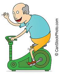 homem velho, exercitar