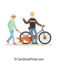 homem velho, ficar, perto, um, bicicleta, mulher sênior, andar, com, cão, saudável, estilo vida ativo, coloridos, caráteres, vetorial, ilustração