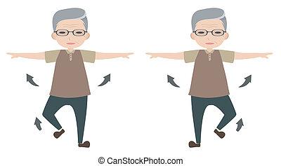 homem velho, personagem, esticar, braço, e, levantamento, pé
