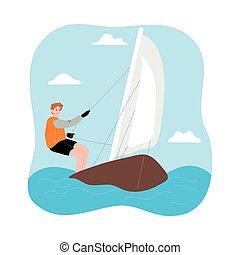 homem, vento, montando, vela, viagem, desfrutando, branca, sob, jovem, sailboat