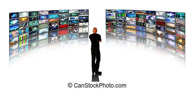 homem, ver, vídeo, monitores