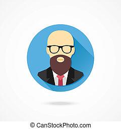 homem, vetorial, calvo, barba