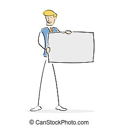 homem, vetorial, tábua, segurando, em branco