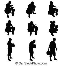 homem, vetorial, tambores, ilustração, tocando