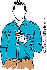homem, vinho, ilustração, copo