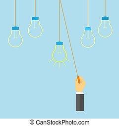 homem, virado, a, elétrico, lamp..