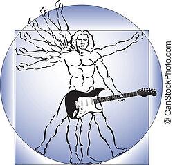 homem vitruvian, com, guitarra