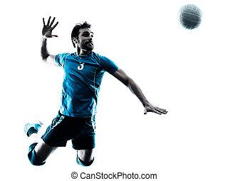 homem, voleibol, pular, silueta