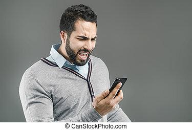 homem, zangado, com, telefone