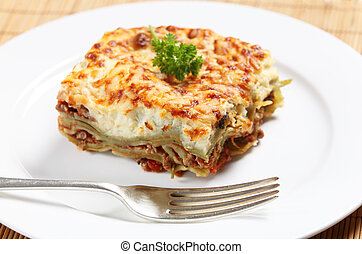 Homemad lasagne side view - Homemade lasagne verdi on a...