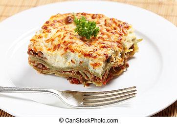Homemad lasagne side view - Homemade lasagne verdi on a...