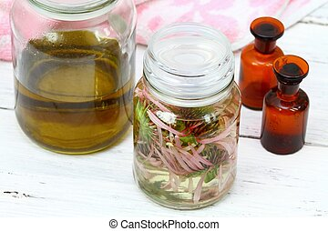 Homemade alternative medicine, Echinacea tincture in front