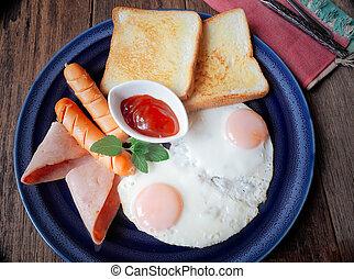 American Breakfast on wooden Table.