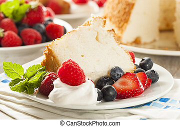 Homemade Angel Food Cake with Fresh Berries
