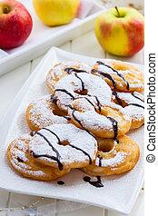 Homemade apple pancake rings