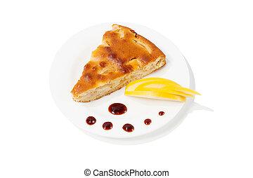 Homemade apple pie on a plate