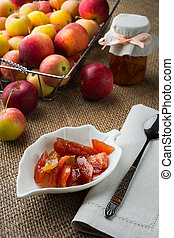 Homemade apple slices confiture