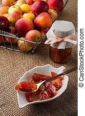 Homemade apple slices jam