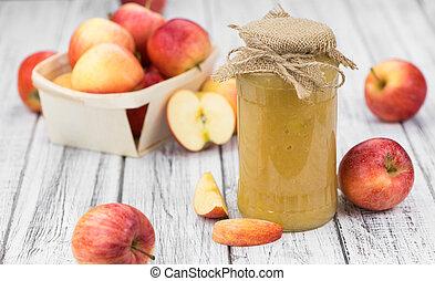 Homemade Applesauce (selective focus) - Homemade Applesauce...