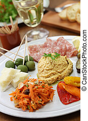 homemade assortment of appetizers, antipasto platter