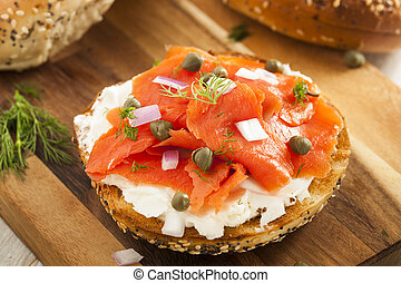 Homemade Bagel and Lox with Cream Cheese, Capes, and Dill