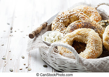 Homemade bagels with sesame, poppy, pumpkin and sunflower ...