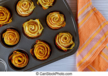 Homemade baked potato roses with bacon