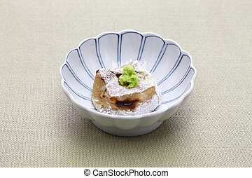 homemade baked sesame tofu, japanese traditional vegan...