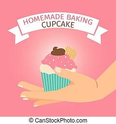 Homemade baking illustration with pink cupcake