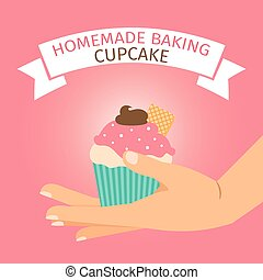 Homemade baking illustration with pink cupcake