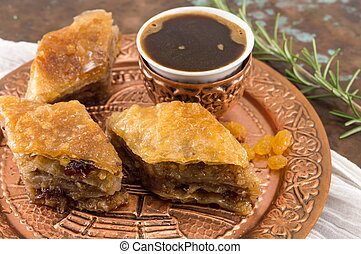 Homemade baklava dessert on a plate