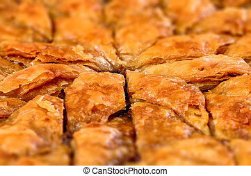 Homemade baklava - Turkish filo sweet pastry