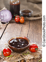 Homemade Barbeque Sauce with Tomatoes, Smoked Salt and fresh...