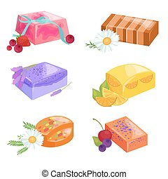 Homemade bars soaps, flowers and essential oil. vector icons...
