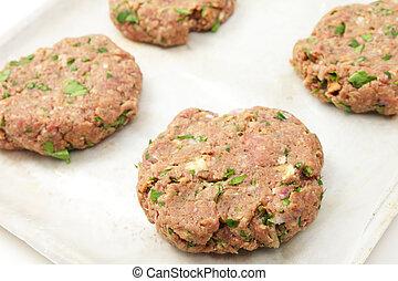 Homemade beefburger patties - Freshly made beefburger...