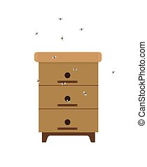 Wooden homemade beehive with swarm of bees icon in cartoon style isolated icon Part of domestic apiary, flying insects in process of honey production