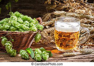 Homemade beer made of fresh hops