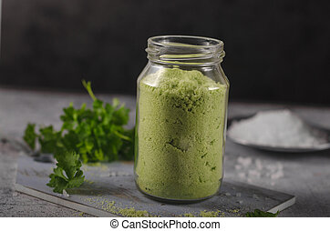 Homemade bio flavored salt with herbs