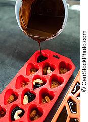 Homemade black chocolate handmade poured into plastic molds