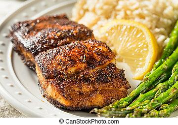 Homemade Blackened Mahimahi White Fish with Asparagus and ...