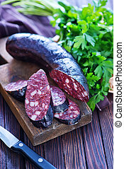 homemade blood sausage with aroma spice and herbs