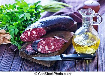 homemade blood sausage
